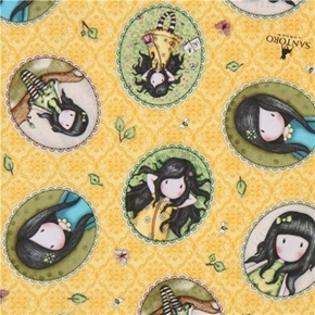 Birds of a Feather Girl Patches Santoro Gorjuss Yellow Cotton Fabric