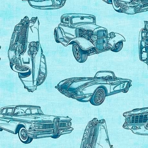 Motorin Vintage Car Sketches Retro Cruisers Light Aqua Cotton Fabric