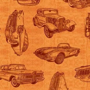Picture of Motorin' Vintage Car Sketches Retro Cruisers Honey Brown Cotton Fabric