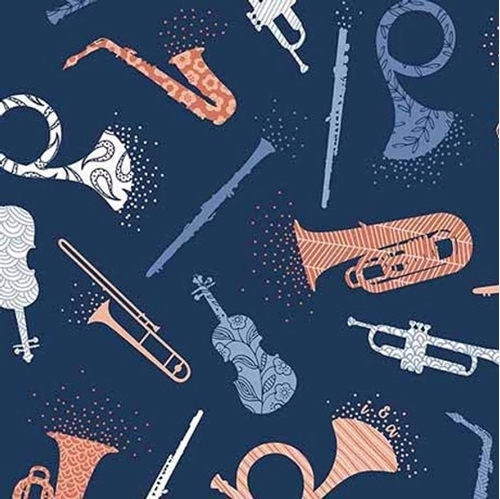 Melodie Music Tossed Instruments Flute Sax Trumpet Navy Cotton Fabric