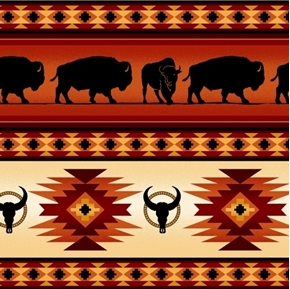 Tucson Southwest Aztec Indian Buffalo Stripe Terracotta Cotton Fabric
