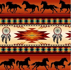 Tucson Southwest Horse Dreamcatcher Terracotta Stripe Cotton Fabric