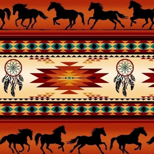 Tucson Southwest Horse Dreamcatcher Terracotta Stripe Cotton Fabric