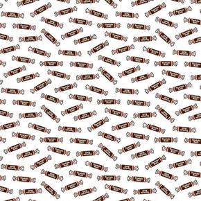 Picture of It's Tootsie Roll Time Tootsie Rolls Candy on White Cotton Fabric