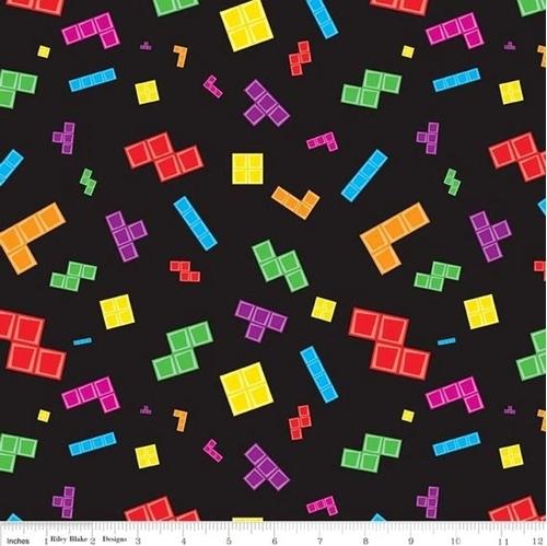 Tetris Tile Matching Puzzle Video Game Tiles On Black Cotton Fabric
