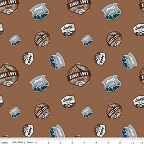 Picture of Jeep Pioneering the Wilderness Since 1941 Logos Brown Cotton Fabric