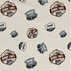Jeep Pioneering the Wilderness Since 1941 Logos Cream Cotton Fabric