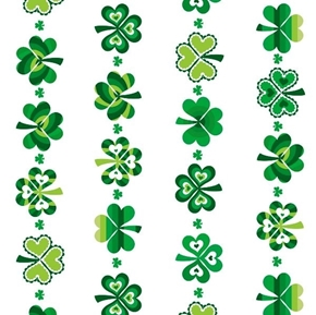 Lucky Clover Shamrock Stripe Saint Pattys Day White Cotton Fabric