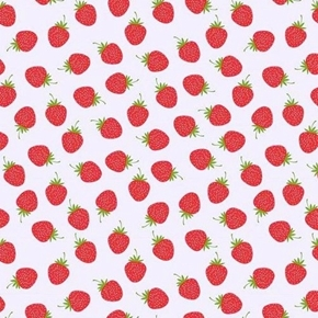 Picture of Butterflies and Berries Red Strawberries Berry White Cotton Fabric