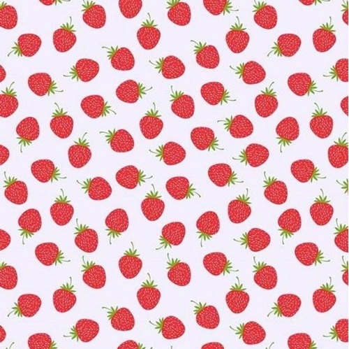 Butterflies and Berries Red Strawberries Berry White Cotton Fabric