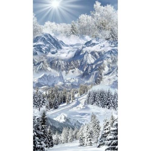 Winter Scenic Snowy Mountains Sunburst Trees 24x44 Cotton Fabric Panel