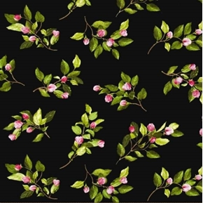 Picture of Apple Blossom Festival Pink Flowers on Branches Black Cotton Fabric