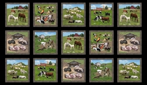 Picture of Farm Animals Pig Horse Goat Sheep Blocks 24x44 Cotton Fabric Panel