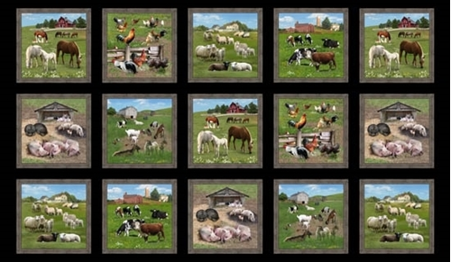 Farm Animals Pig Horse Goat Sheep Blocks 24x44 Cotton Fabric Panel