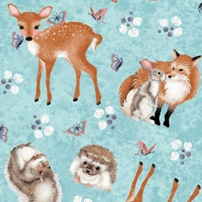 Forest Friends Hedgehog Squirrel Fox Bunny Deer Blue Cotton Fabric