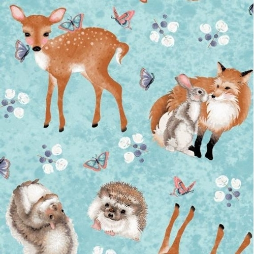 Forest Friends Hedgehog Squirrel Fox Bunny Deer Blue Cotton Fabric