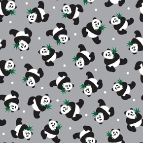 Picture of Little Explorers Panda Toss Tiny Pandas on Grey Cotton Fabric