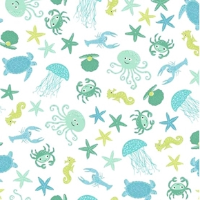 Picture of Merryn Sea Creatures Turtle Crab Jellyfish Seahorse Cotton Fabric