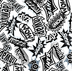 Super Heroes Sounds Zap Wow Thwap Zoink Black and White Cotton Fabric