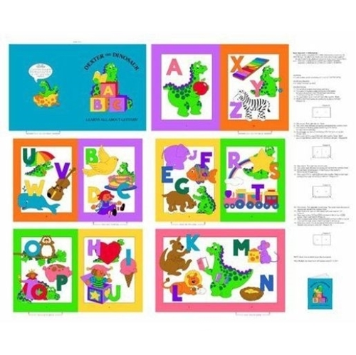 Dexter the Dinosaur Learning Letters ABCs Cotton Fabric Book Craft