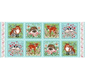 Forest Friends Animal Blocks Hedgehog Fox 18x44 Cotton Fabric Panel