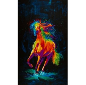 Picture of Painted Horse Rainbow Horse on Black Digital 24x44 Cotton Fabric Panel
