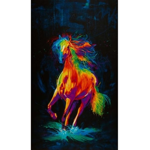 Painted Horse Rainbow Horse on Black Digital 24x44 Cotton Fabric Panel
