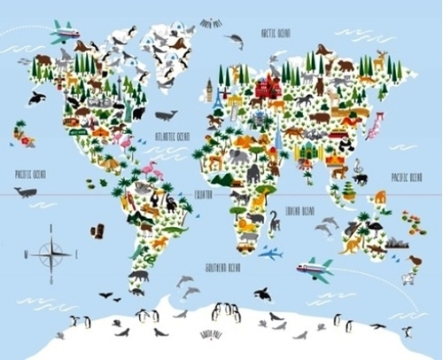 Picture of Little Explorers Global Animal Map Large Cotton Fabric Panel