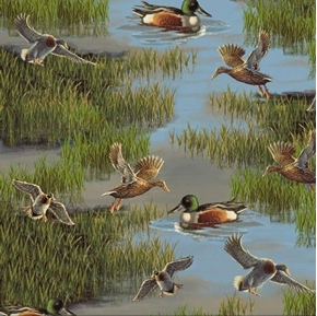 Lakeside Mallard Ducks in Swamp Duck Cotton Fabric