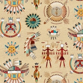 Tucson Southwest Icons Hieroglyphics Artwork on Sand Cotton Fabric