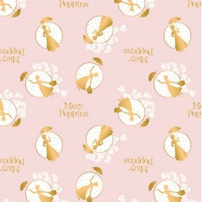 Picture of Mary Poppins Tossed Frames in Pink with Gold Metallic Cotton Fabric