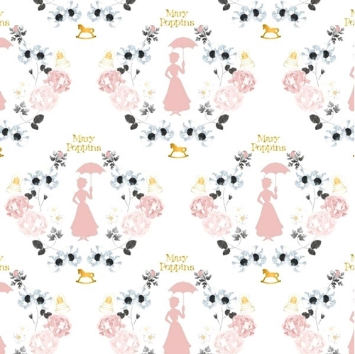 Picture of Mary Poppins Damask in White Metallic Floral Framed Mary Cotton Fabric