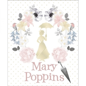 Mary Poppins Damask Floral in White Metallic Large Cotton Fabric Panel