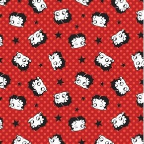 Picture of Betty Boop Sassy Love Faces Stars and Dots on Red Cotton Fabric