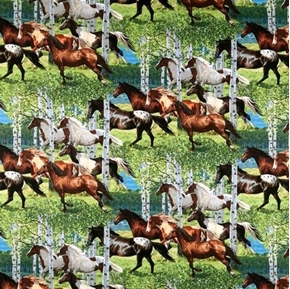 Wild Wings Horses Allover Running Through Birch Trees Cotton Fabric