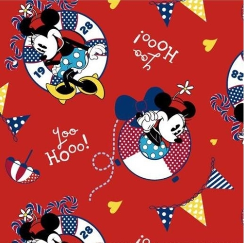 Picture of Disney Minnie Mouse Nautical Cartoon 1928 Yoo Hooo Red Cotton Fabric