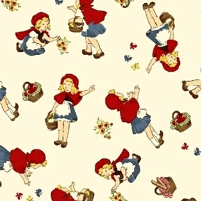 Little Red Riding Hood Fairy Tail Girl with Flowers Ivory Cotton Fabric