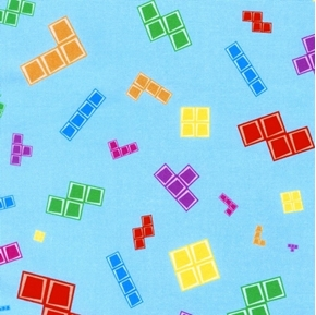 Picture of Tetris Tile-matching Puzzle Video Game Tiles on Blue Cotton Fabric