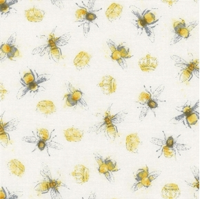 Picture of Bee My Sunshine Honey Bees Queen Bee and Crowns on White Cotton Fabric