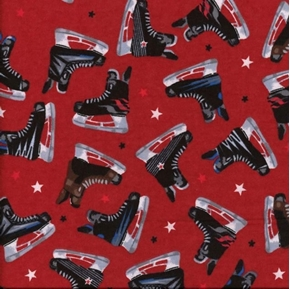 Hockey Skates Mens Brown and Black Ice Skates on Red Cotton Fabric