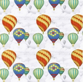 Adventure Awaits Hot Air Balloons Colorful Balloon Cotton Fabric