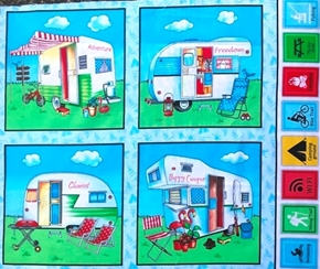 Happy Camper Trailer Camp Adventure Cotton Fabric Pillow Panel