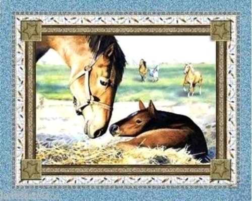 Natures Gift Horse Mother Foal Southwest Large Cotton Fabric Panel