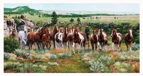 Wild and Free Wild Horses Running 24x44 Cotton Fabric Panel