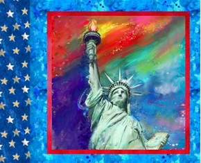 American Icons Patriotic Statue of Liberty Digital Print Pillow Panel