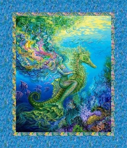 Picture of Mystic Ocean Mermaid Seahorse Underwater Large Cotton Fabric Panel