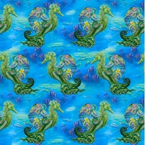 Mystic Ocean Mermaid on Seahorse Underwater Digital Cotton Fabric