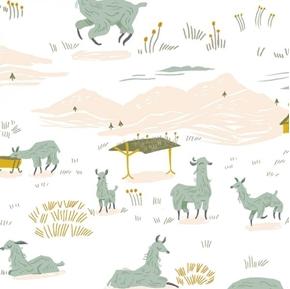 Picture of Llama Land Llamas Grazing Relaxing Alpaca Farm White Cotton Fabric