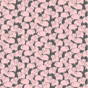 Charcoal Piggies Little Pink Pigs on Gray Cotton Fabric