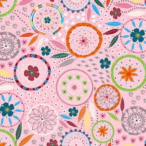 Dreamcatchers Pink Flower Dream Catchers Cotton Fabric
